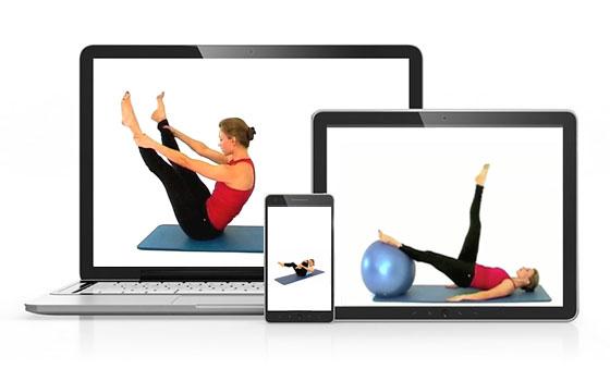 Cours de pilates sur tablette, Internet et DVD